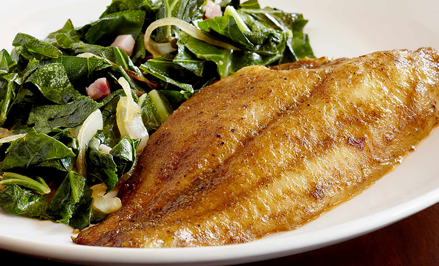 Five Delicious Entrées for the Lake Fish You Just Brought Back to your Lakehouse 4 Cajun Catfish wiht collard greens On The Lake Living