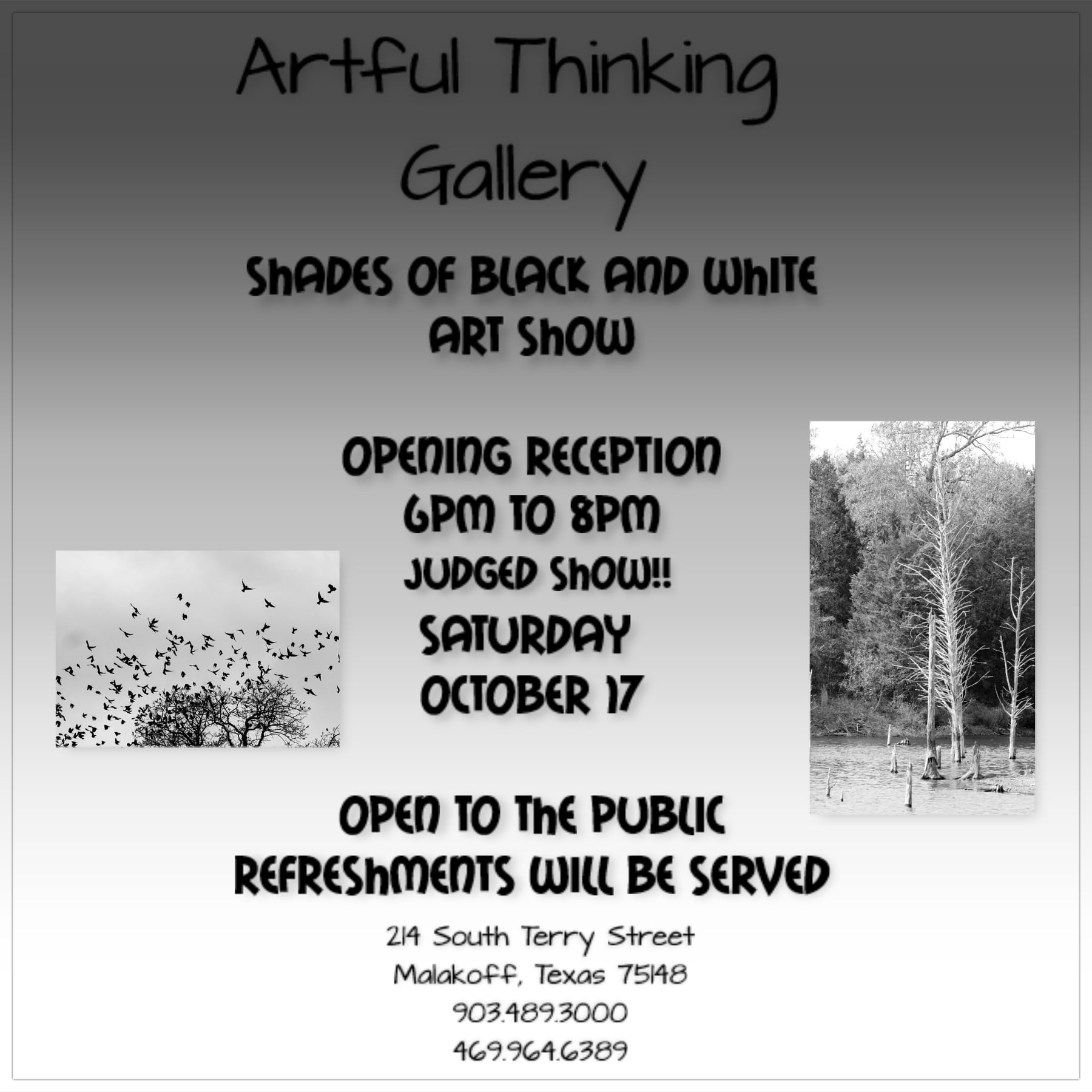 Malakoff To Host Cornbread, 1 Charity Event & Professionally Judged Fine Art Contest 6 Shades of Black and white On The Lake Living